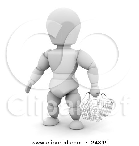 Clipart Illustration of a Shopping White Character In A Store, Carrying An Empty Wire Basket by KJ Pargeter