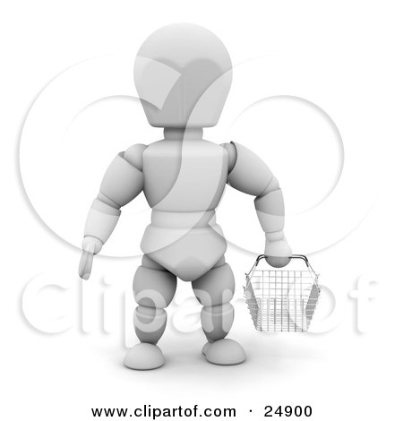 Clipart Illustration of a White Character In A Store, Facing Front And Carrying An Empty Wire Shopping Basket by KJ Pargeter