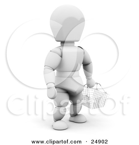 Clipart Illustration of a White Character In A Store, Carrying An Empty Wire Shopping Basket by KJ Pargeter