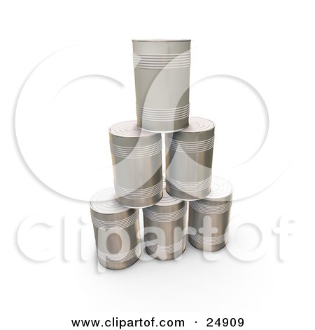Clipart Illustration of a Pyramid Of Tin Soup Cans Without Any Labels by KJ Pargeter