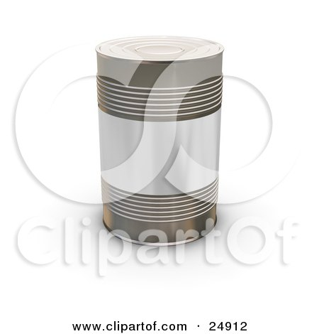 Clipart Illustration of a Tin Soup Can Without Any Labels, Standing Upright On A White Surface by KJ Pargeter