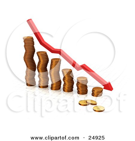 Clipart Illustration of a Decrease Red Arrow Rushing Downwards Over A Bar Graph Made Of Golden Coins, Over White by KJ Pargeter