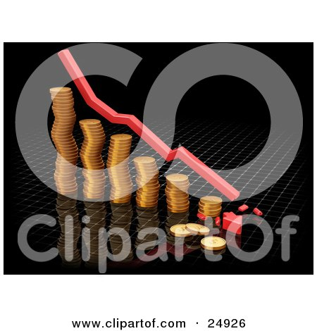 Clipart Illustration of a Decrease Red Arrow Rushing Downwards And Crashing Over A Bar Graph Made Of Golden Coins, Over Black by KJ Pargeter