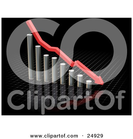 Clipart Illustration of a Red Arrow Rushing Downhill Over A Decreasing Chrome Bar Graph On A Reflective Black Surface by KJ Pargeter