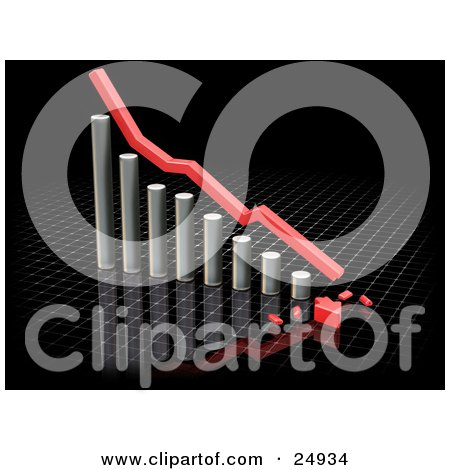 Clipart Illustration of a Decreasing Chrome Bar Graph With A Red Line And A Broken Arrow On The Bottom, Over A Whtie Graph On Black by KJ Pargeter