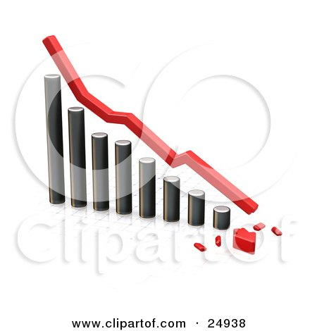 Clipart Illustration of a Decreasing Chrome Bar Graph With A Red Line And A Broken Arrow On The Bottom, Over White by KJ Pargeter