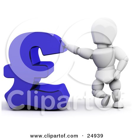 Clipart Illustration of a White Character Leaning Against A Blue Pound Sterling Symbol by KJ Pargeter