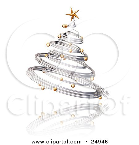 Silver Spiraled Christmas Tree With Gold Ornaments And A Star, Over A Reflecting White Surface Posters, Art Prints