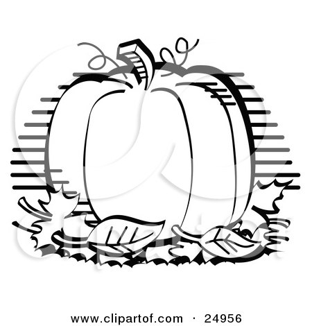 Clipart Picture of a Perfectly Round Halloween Or Thanksgiving Pumpkin Surrounded By Fall Leaves by Andy Nortnik