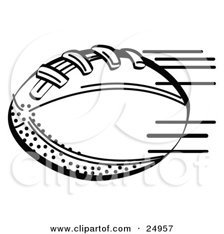 Clipart Picture of an American Football Rushing Through The Air During A Game by Andy Nortnik