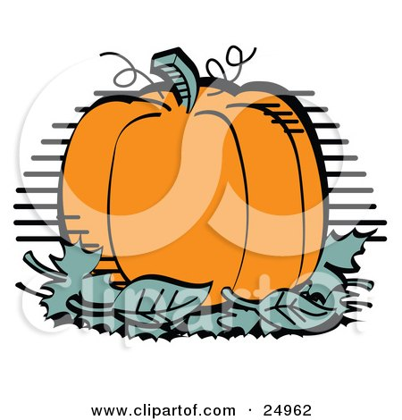 Clipart Picture of a Plump And Round Orange Halloween Or Thanksgiving Pumpkin On Top Of A Pile Of Green Leaves by Andy Nortnik