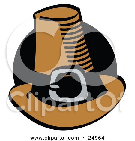 Brown Pilgrim Hat With A Buckle Around The Base, In Front Of A Black Circle Posters, Art Prints
