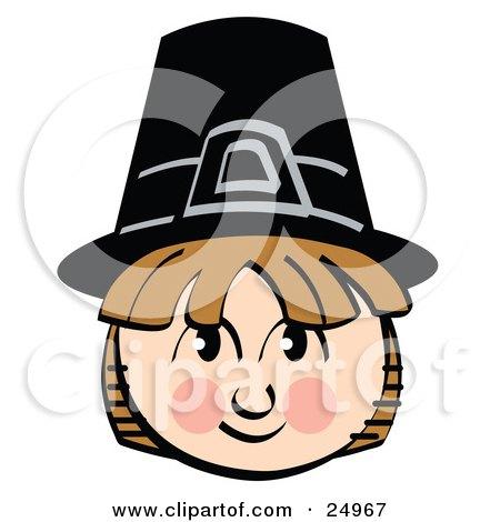 Smiling Pilgrim Boy Wearing A Black Hat Posters, Art Prints