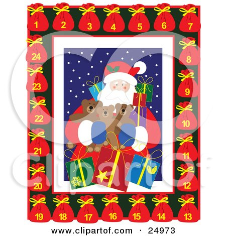 Clipart Illustration of Santa Claus Holding Gifts And Teddy Bears, Surrounded By A Border Of Toy Sacks With A Countdown To XMas by Eugene