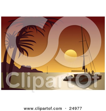 Clipart Illustration of People Enjoying A Beautiful Orange Tropical Sunset From The Deck Of A Sailboat by Eugene