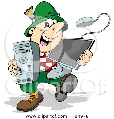 Clipart Illustration of a Happy German Man Smiling And Carrying A Desktop Computer by Holger Bogen