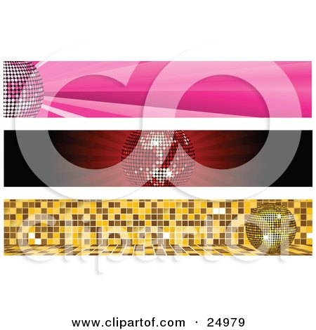 Clipart Illustration of a Collection Of Three Party Website Banners With Pink, Red And Gold Disco Balls by elaineitalia