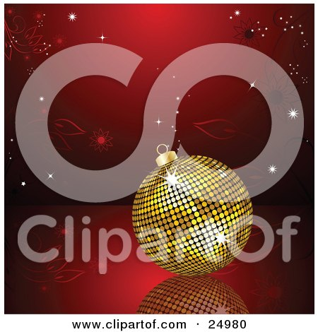 Clipart Illustration of a Golden Disco Ball Christmas Ornament Resting On Top Of A Reflective Surface With A Red Floral Background by elaineitalia