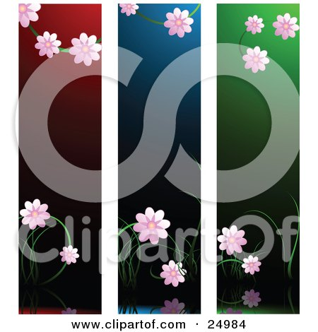 Clipart Illustration of Three Scenes Of Pretty Pink Blossoms Over Red, Blue And Green Backgrounds by elaineitalia