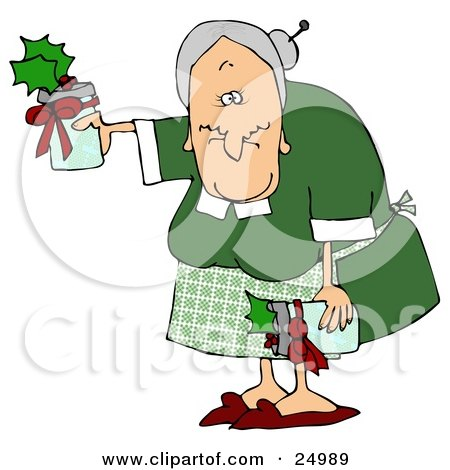Clipart Illustration of a Sweet Old Granny Giving Gifts Of Jam Or Jelly For Christmas by djart