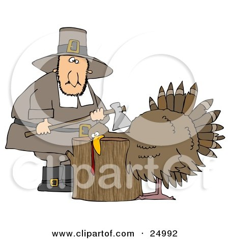 Clipart Illustration of a Turkey With Its Head On A Chopping Block, About To Get His Head Cut Off By A Pilgrim Man With An Ax by djart