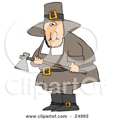Clipart Illustration of a Male Pilgrim Man In Brown, Carrying An Ax And Searching For A Turkey To Kill For Thanksgiving Dinner by djart
