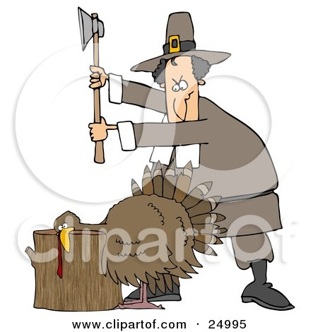a image of a turkey. Male Pilgrim Holding An Axe Above A Turkey On A Chopping Block, Preparing To