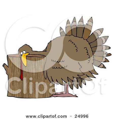 Clipart Illustration of a Plump Turkey Resting Its Head On A Wood Stump Chopping Block, Ready To Be Killed For Thanksgiving by djart