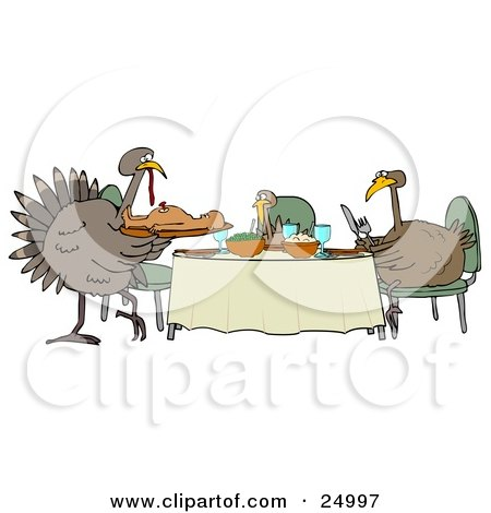 Clipart Illustration of a Turkey Bird Family Dining On A Man At A Table On Thanksgiving by djart