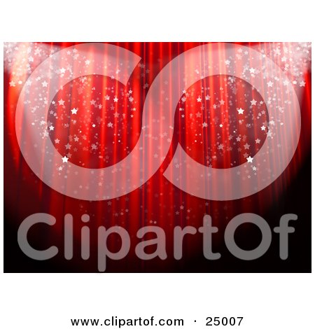 Clipart Illustration of Sparkling Confetti Falling In Spotlights In Front Of A Red Theatre Curtain At An Event by 3poD