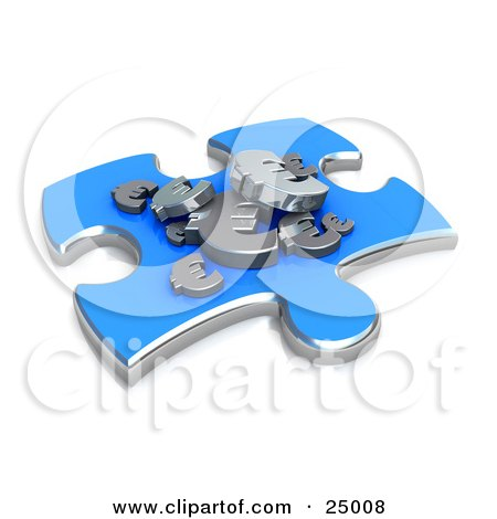 Clipart Illustration of a Blue Jigsaw Puzzle Piece With Silver Euro Signs Resting On Top, Symbolizing Money Concerns by 3poD