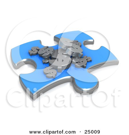 Clipart Illustration of a Blue Jigsaw Puzzle Piece With Silver Dollar Signs Resting On Top, Symbolizing Money Concerns by 3poD