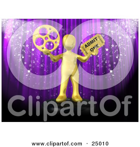 Clipart Illustration of a Gold Person Holding A Film Reel And A Movie Ticket And Standing In Front Of A Purple Theater Curtain With Confetti by 3poD