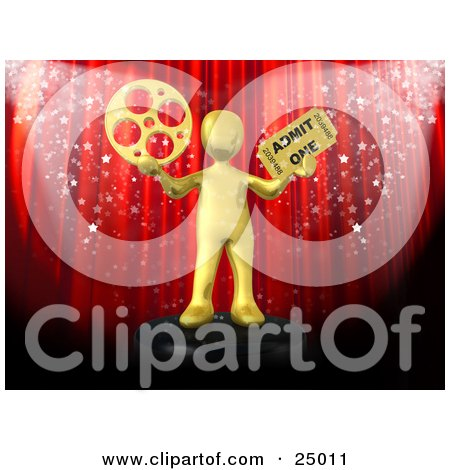 Clipart Illustration of a Gold Person Holding A Film Reel And A Movie Ticket And Standing In Front Of A Red Theater Curtain With Confetti by 3poD