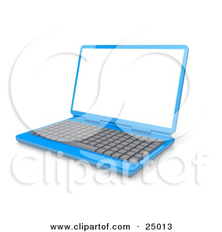 Blue Laptop Computer With A Gray Keyboard And Blank White Screen Posters, Art Prints