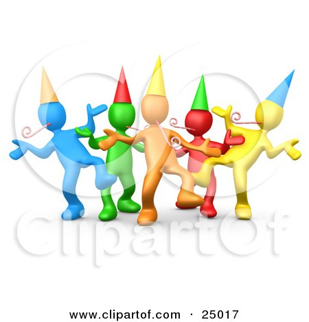 Clipart Illustration of a Diverse Group Of Colorful People Wearing Party Hats And Blowing Noise Makers While Dancing At A Birthday Or New Years Eve Party by 3poD
