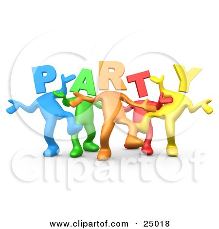 Clipart Illustration of a Diverse Group Of Colorful People With Letter Heads Spelling Out Party, Dancing by 3poD
