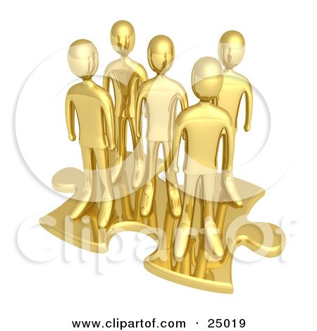 Clipart Illustration of a Team Of Gold People Standing On Top Of A Jigsaw Puzzle Piece, Symbolizing Teamwork, Solutions And Challenges by 3poD