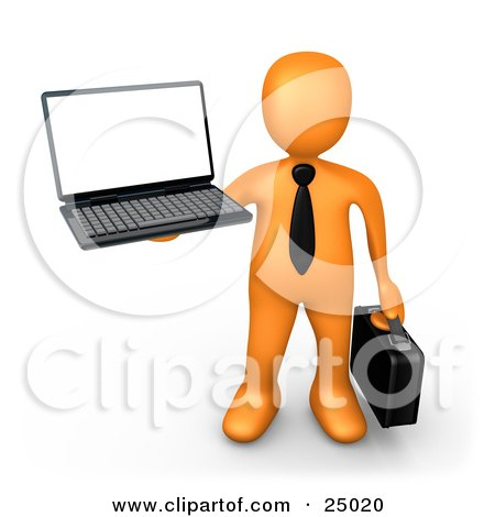 Clipart Illustration of an Orange Businessman With A Black Tie, Holding A Laptop And Carrying A Briefcase by 3poD