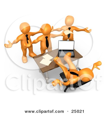 Clipart Illustration of a Group Of Angry Orange People Employees Complaining To Their Lazy Boss As He Sits At His Desk With His Feet Up And Does Nothing To Help by 3poD
