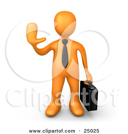 Clipart Illustration of an Orange Businessman Carrying A Briefcase And Gesturing With His Hand To Stop by 3poD
