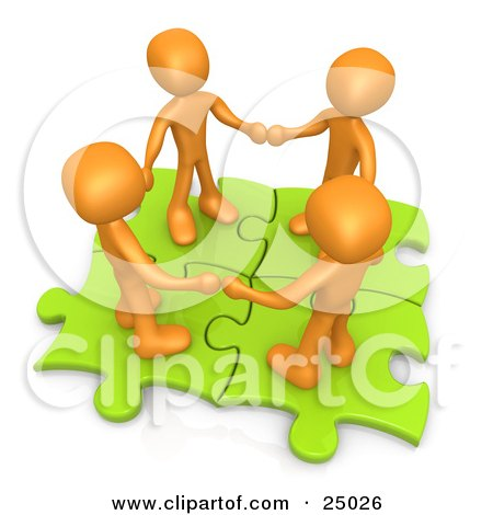 Clipart Illustration of Four Orange People Holding Hands While Standing On Connected Green Puzzle Pieces, Symbolizing Teamwork, And Interlinking For Seo Website Marketing by 3poD