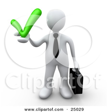 Clipart Illustration of a White Business Person In A Tie, Carrying A Briefcase And Holding A Grey Check Mark, Symbolizing Approval And Solutions by 3poD
