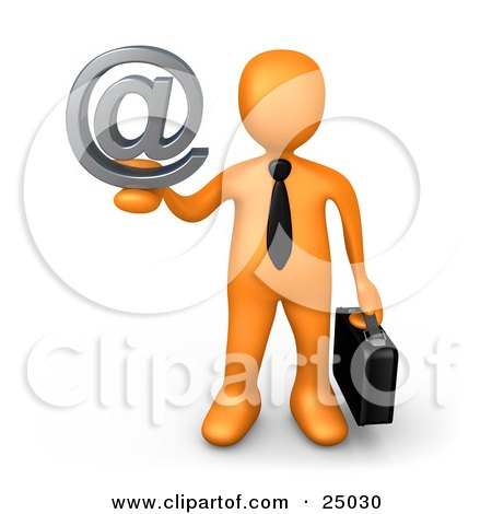 Clipart Illustration of an Orange Businessman Carrying A Briefcase And Holding Up A Silver Email At Symbol by 3poD