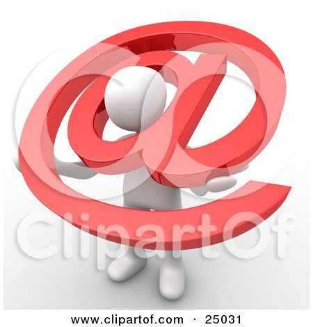 White Person Holding A Red Email At Symbol With His Head Peeking Through The Center Posters, Art Prints