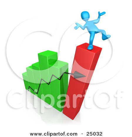 Clipart Illustration of a Blue Person Slipping And About To Fall While Standing On Top Of A Bar Graph Chart That Is Collapsing, Symbolizing Bankruptcy And Failure by 3poD