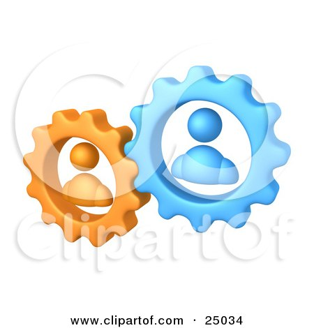 Clipart Illustration of Orange And Blue People Inside Gears, Working Together To Solve A Problem by 3poD