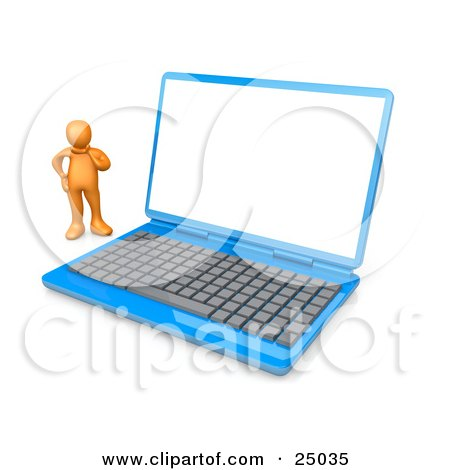 Confused Orange Person Standing Beside A Blue Laptop Computer With A Blank White Screen Posters, Art Prints