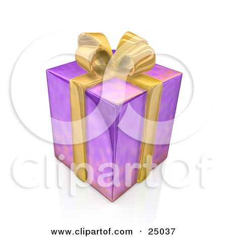 Clipart illustration of a birthday anniversary or christmas gift birthday anniversary or christmas gift box wrapped in purple paper with a yellow bow and ribbon negle Choice Image