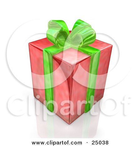 Clipart Illustration of a Birthday, Anniversary Or Christmas Gift Box Wrapped In Red Paper With A Green Bow And Ribbon by 3poD